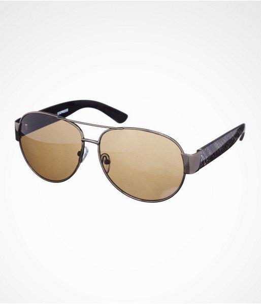 Express Python Accent Aviator Sunglasses