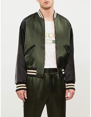 Gucci Logo-stripe satin bomber jacket