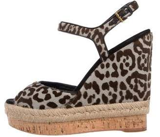 Gucci Ankle Strap Ponyhair Wedges