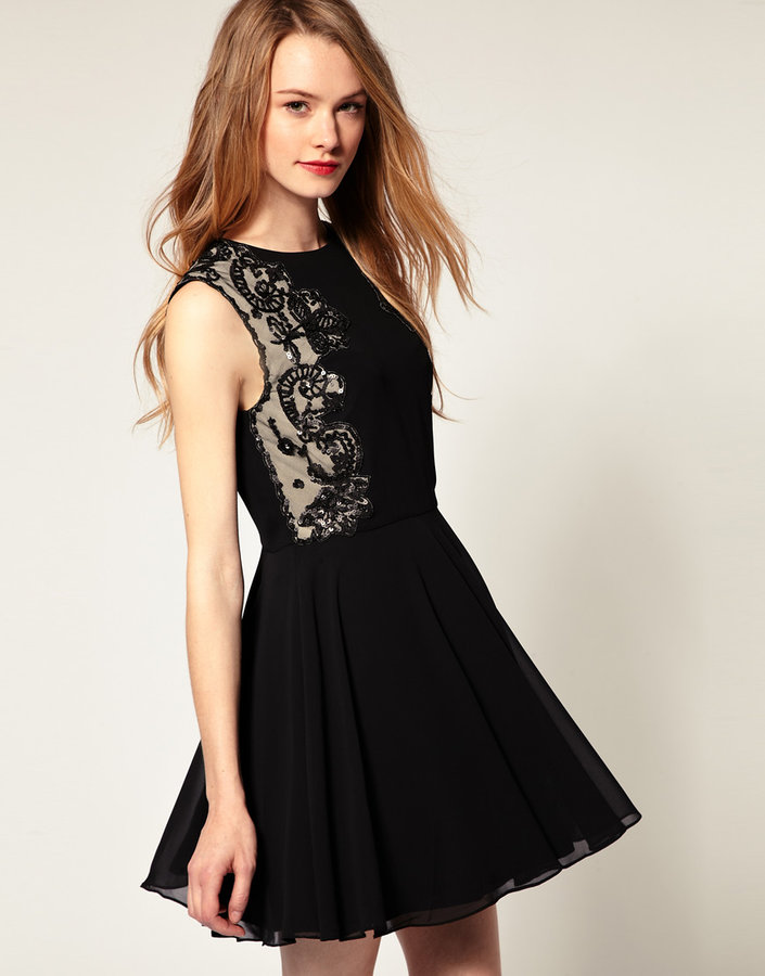 Ted Baker Lace Detail Fit and Flare Dress