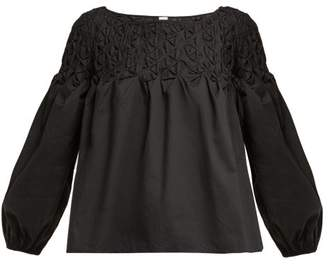 Merlette - Smocked Cotton Blouse - Womens - Black Gold
