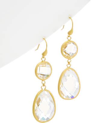 Rivka Friedman 18K Clad Faceted Rock Crystal Bold Double Dangle Earrings