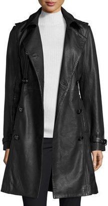 Neiman Marcus Double-Breasted Lambskin Leather Classic Trench Coat, Black $525 thestylecure.com