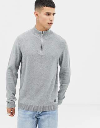 Jack and Jones funnel neck half zip knit