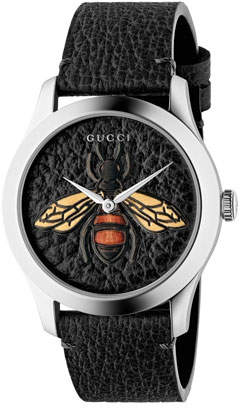 Gucci Bee Leather Watch, Black