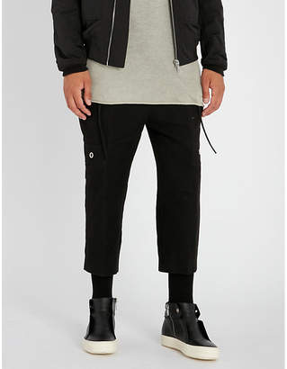 Rick Owens Cargo Dirt regular-fit dropped-crotch cotton and silk-blend trousers