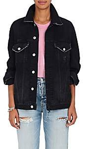 Adaptation Women's Warren Lotas Painted-Back Denim Jacket - Black Size S 00505053015501