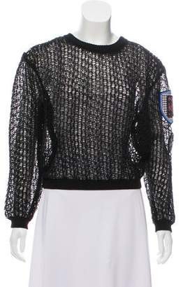 Christian Dior Christian DiorPatch Open-Knit Cropped Sweater
