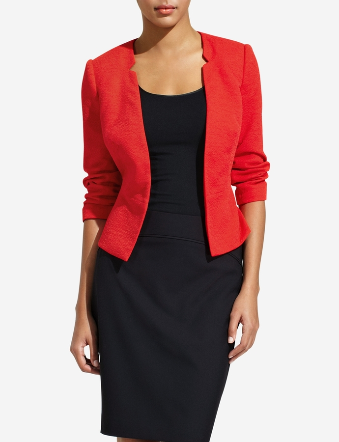 The Limited Collarless Peplum Jacket
