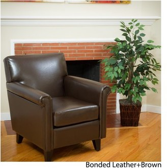 Noble House Franklin Classic Brown Bonded Leather Club Chair