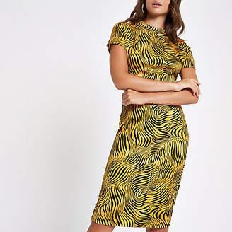 River Island Yellow zebra print midi bodycon dress