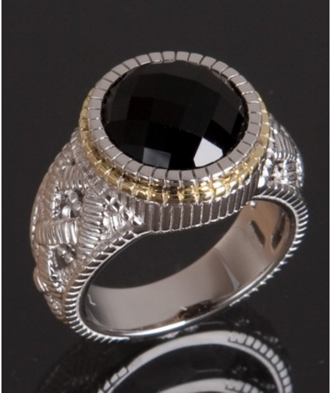 Judith Ripka black onyx stone and silver basketweave ring