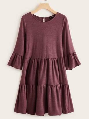 Shein Flounce Sleeve Heather Knit Smock Dress