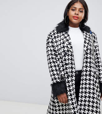 Unique 21 Hero Plus UNIQUE21 Hero Plus oversized car coat in dogtooth with faux fur collar and cuffs
