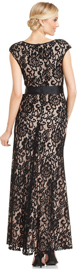 Betsy & Adam Dress, Cap-Sleeve Belted Lace Gown