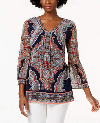 Charter Club Scarf-Print Tunic Top, Created for Macy's