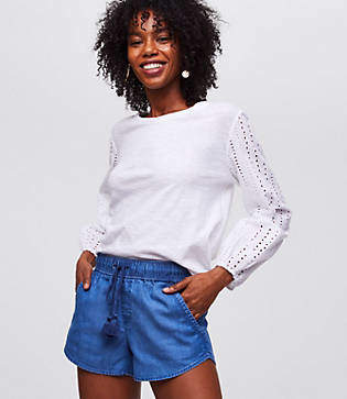 LOFT Chambray Drawstring Shorts