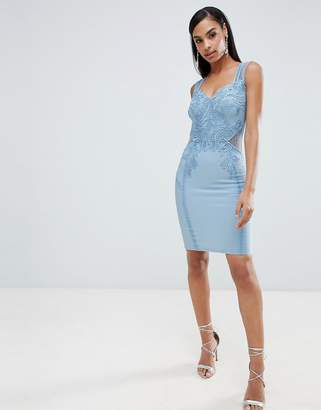Lipsy bodycon dress with lace detail