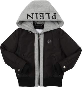 Philipp Plein Junior Nylon & Cotton Sweatshirt Bomber Jacket
