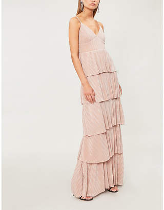 Forever Unique Tiered metallic-knit dress