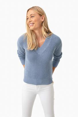 White + Warren Baltic Blue Mid Gauge Cotton V-Neck Sweater