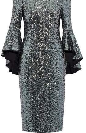 Selena Off-The-Shoulder Sequined Mesh Dress