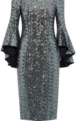 Milly Selena Off-The-Shoulder Sequined Mesh Dress