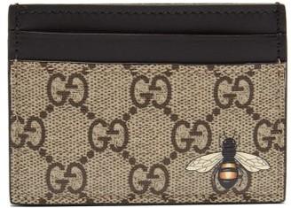 Gucci Gg Supreme Bee Print Canvas Cardholder - Mens - Brown Multi