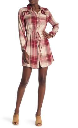 Angie Fringe Yoke Plaid Dress