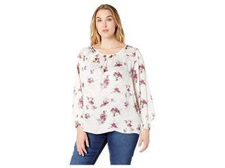 Vince Camuto Specialty Size Plus Size Long Sleeve Delicate Bouquet Mix Media Blouse