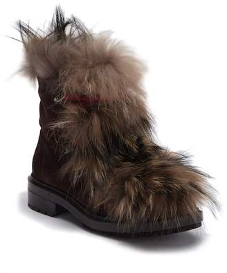 Aquatalia Lilana Waterproof Suede Genuine Shearling Lace Boot