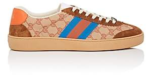 Gucci Men's Web-Striped Canvas & Suede Sneakers - Brown