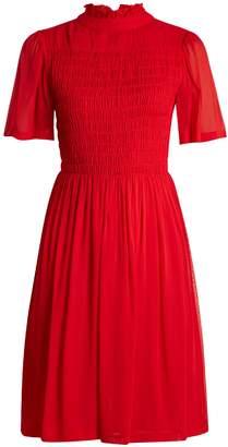 ALEXACHUNG Short-sleeved smocked georgette dress
