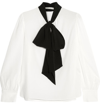 Alice + Olivia - Treena Pussy-bow Silk-blend Blouse - White $315 thestylecure.com