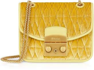Furla Quilted Velvet Metropolis Cometa Mini Crossbody Bag