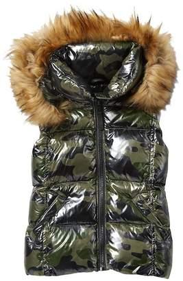 SAM. Camouflage Down Vest With Faux Fur Trim (Big Girls)