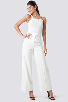 NA-KD Flared Suit Pants White