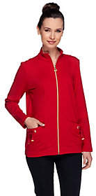 Susan Graver Weekend French Terry Zip FrontJackt w/Pockets