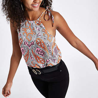 River Island Pink paisley halter neck cami top