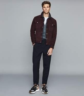 Reiss MAX ZIP THROUGH POLO SHIRT Airforce Blue