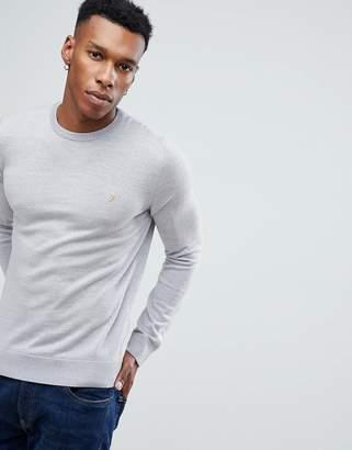 Farah Mullen Slim Fit Merino Sweater in Light Gray