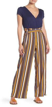 BAILEY BLUE Solid Short Sleeve Striped Paperbag Jumpsuit