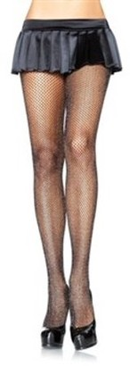 Leg Avenue Women's Fishnet Pantyhose with Glitter Spandex, Black/Silver, One Size