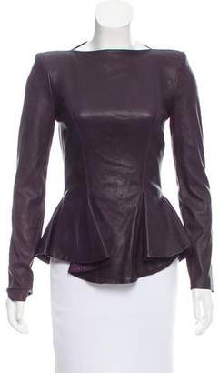 Plein Sud Jeans Long Sleeve Leather Top