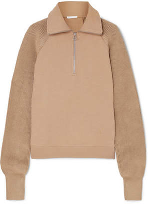 Helmut Lang Cotton-terry And Ribbed-knit Sweatshirt - Camel