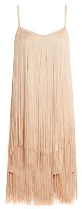 Raey Long Fringe Slip Dress - Womens - Nude