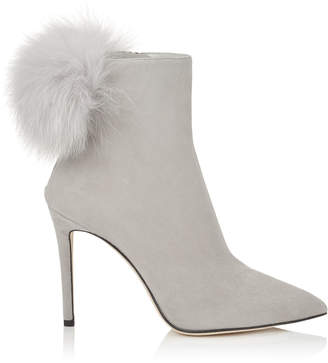 Jimmy Choo TESLER 100 Moonstone Suede Booties with White Fox Fur Pom Poms