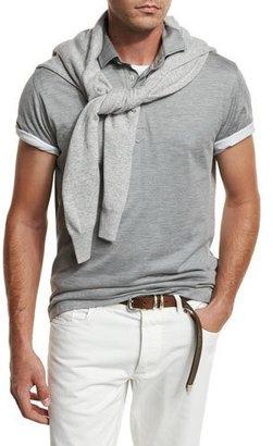 Brunello Cucinelli Silk Jersey Polo Shirt $525 thestylecure.com