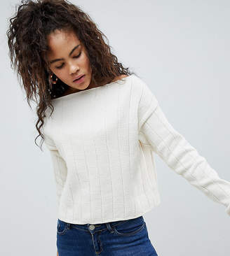 Asos Tall Asos Design Tall Eco Off Shoulder Cropped Jumper In Oversized Rib