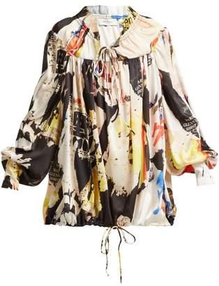 Marques Almeida Marques'almeida - Poster Print Tie Neck Blouse - Womens - Multi